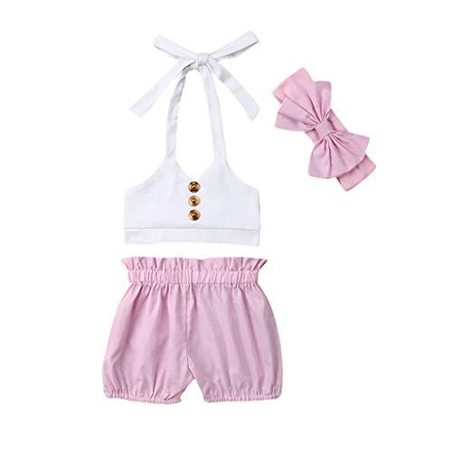 Moneycom❤Bouton Enfants Fille d'été Camisole Rose Short Bow Bretelles Couvre-Chef Blanc(18-24 Mois)