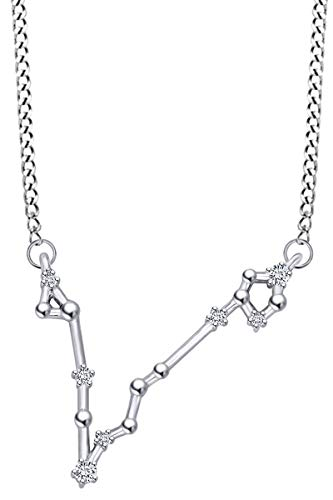 Round Cut Natural Diamond Pisces Constellation Pendant Necklace In 14K Solid White Gold