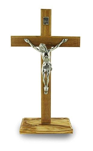 Ferrari & Arrighetti Crucifijo de Mesa con Base en Madera de Olivo con Cristo en Metal Oxidado - 19 cm