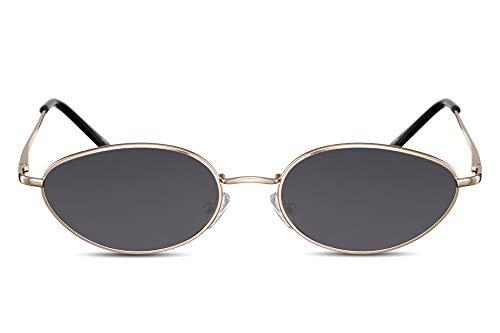 Cheapass Gafas de Sol Pequeñas Ovaladas Montura Ojo de Gato Dorada Metálica Gafas Festival con Cristales Oscuros para Mujer