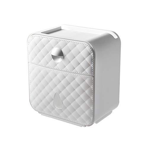 WXXSL Moderno Portarotolo Carta igienica, ABS Impermeabile Montaggio a Parete Portarotolo Acciaio Nessuna Perforazione Deposito Tessuto Bagno 19,7×12,5×20,8cm,Bianca