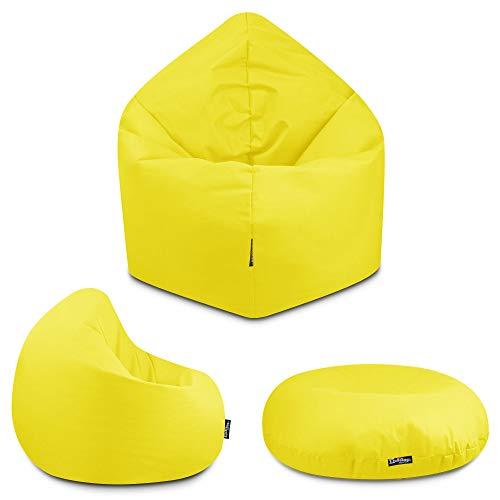 2in1 Sitzsack Bodenkissen Outdoor Sitzsäcke Indoor Beanbag in 32 Farben & 3 Größen wählbar Sitzkissen Kinder Yoga Kissen Erwachsene Schule Kindergarten (Gelb145 cm)