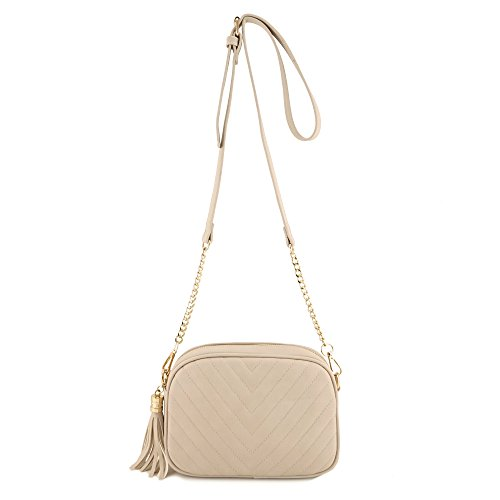 Simple Shoulder Crossbody Bag With Metal Chain Strap And Tassel Top Zipper (Beige)