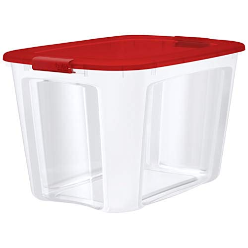 Bella Storage Solution 121 Quart Durable Latching Tote with Lid for Storing Seasonal Items | Made in USA -Red