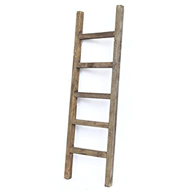 BarnwoodUSA Rustic Farmhouse Decorative Ladder - Our 4 ft Ladder can be Mounted Horizontally or Vertically and is Crafted from 100% Recycled and Reclaimed Wood | No Assembly Required | Brown