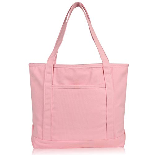 DALIX 20' Solid Color Cotton Canvas Shopping Tote Bag in Light Pink