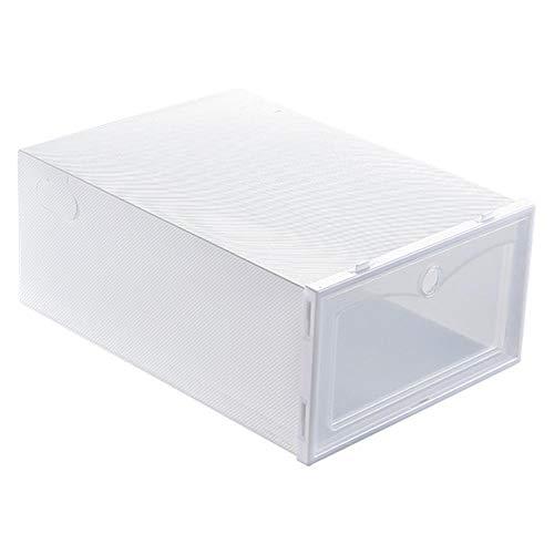 Plastic damesschoen opbergdoos Stapelbare sneaker Displaydoos Doorzichtige kast Plank Schoen Organizer(31 * 21.5 * 12.5cm-wit)