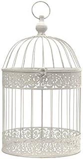 chemin_de_campagne Cage Oiseaux Décorative Fer Ronde Blanc 40 cm x ø18 cm