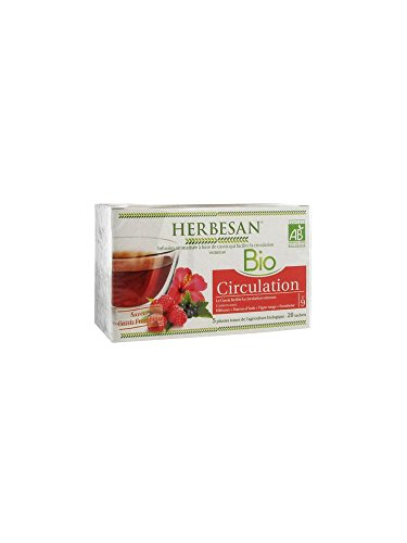HERBESAN INFUSION HIBISCUS CASSIS CIRCULATION BIO Cassis feuille, Hibiscus, Marron dInde, Vigne rouge - 20 sachets