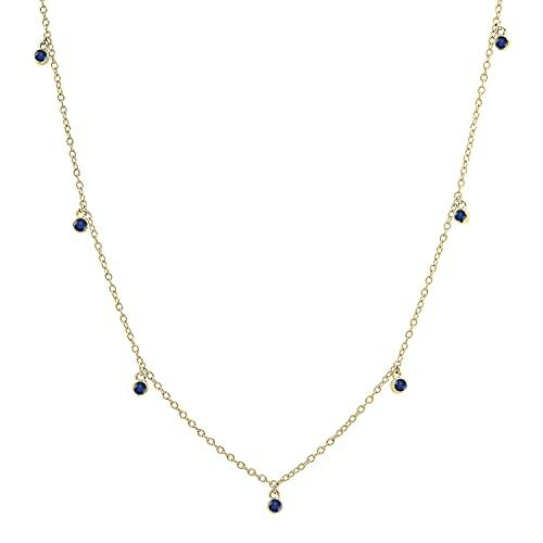 Dazzlingrock Collection Collar redondo de 2 mm con cadena de oro de 18 pulgadas y zafiro azul de 14 quilates