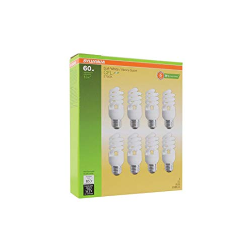 Sylvania 13W CFL T2 Spiral Light Bulb, 60W Equivalent, 850 Lumens, 2700K Soft White, Non-Dimmable (8-Pack)