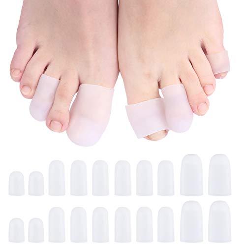 Fodlon Punteras de Gel, Protectores de Dedos del Pie Gel de Silicona Punteras Almohadillas para Prevenir Ampollas Callos