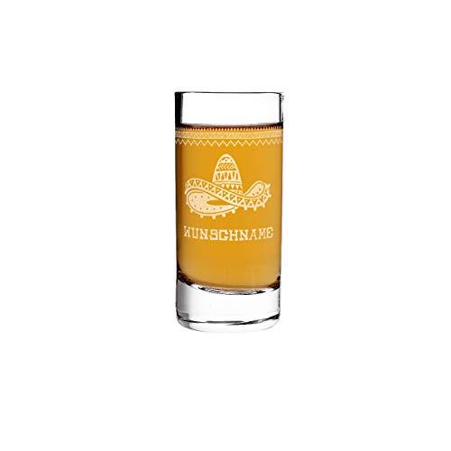 Herz & Heim® Tequila Shot Glas mit Gravur des Wunschnamens - mexikanische Motive zur Auswahl Sombrero