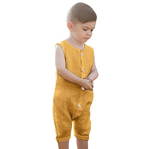 MAYOGO Ropa Bebe Niño Mameluco sin Manga Bebe Niño Body Color sólido Mono Pijama para Bebe Pelele O Cuello Bodis BotóN Ropa Bebe Recien Nacido Verano 2019 Bebe Disfraz Lino la Colmena