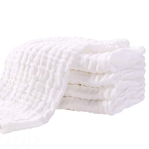 Mullwindeln Spucktücher 5er Set 70x70 cm Stoffwindeln Faltwindeln Mulltücher Saugstark Baumwolle für Baby Weiß Kochfest Premium Qualität YOOFOSS