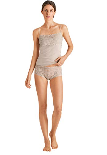Hanro Damen Luxury Moments Wide Lace Spaghetti Camisole Mieder, Sahara, Mittel