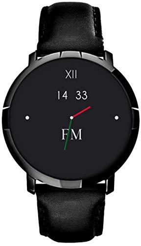 Smartwatch FLORENCE MARLEN FM1R | Disegnato In Italia | 2 CINTURINI | Uomo-Donna Cinturino Pelle Verona Nera | Orologio, Water-Resistant | Cardiofrequenzimetro, Contapassi, Notifiche | IOS & Android