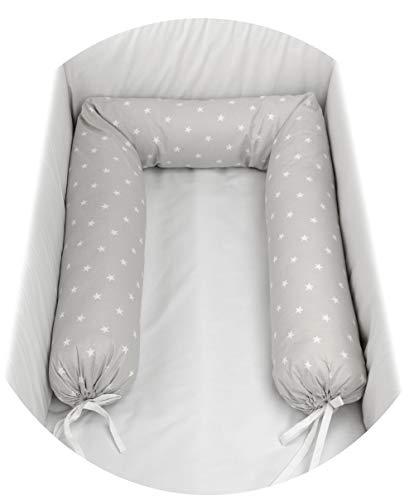 Babysanity – Reductor protector cilíndrico para cuna desenfundable varias formas y medidas para reducir la cuna de tu bebé Fantasia stellina grigia