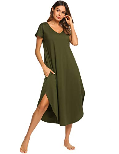 Ekouaer Nightwear Women's Sexy V Neck Sleepwear Soft Cotton Nightgown with Side Split (Green,S)