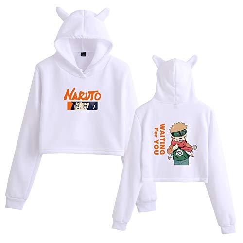 MLX-BUMU Naruto Sudaderas con Capucha de Orejas de Gato Sudadera con Capucha Corta con Capucha para Mujer Sudadera de Moda Streetwear Hip Hop,XS