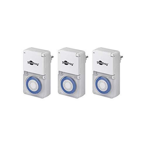 Goobay 3er Pack Zeitschaltuhr Spritzwassergeschützt IP44, 3 ) (Pack of 3)