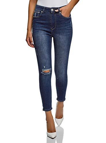 oodji Ultra Donna Jeans Skinny a Vita Alta, Blu, 28W / 32L