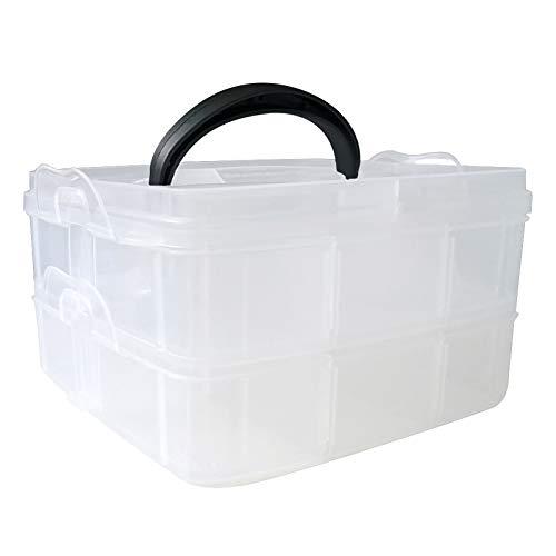 AIFAIFA Caja de almacenamiento transparente para organizador de kit de decoración de uñas, dos capas con divisores