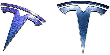 Custom Cut Graphics Logo Decal Wrap for Tesla Model 3, 2 pc-Set (Gloss Flip Deep Space - Blue/Purple)