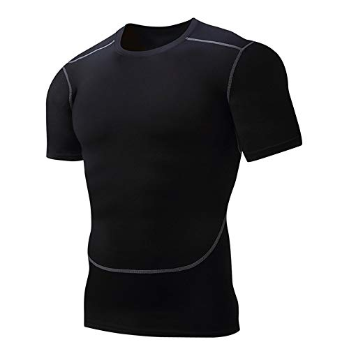 Männer Fitness-Studio engen Trainingsanzug Sport T-Shirt Fitness-Kleidung mit hoher Elastizität atmungsaktiv schnell trocknende Kompression Kurzarm-Shirt Workout Athletic Running Training Sportbekleid
