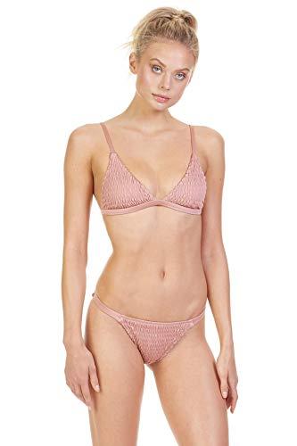 Tori Praver Women's Solids Triangle Bikini Top Rose Gold M
