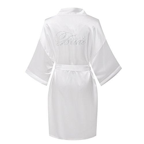Joy Bridalc Satin Wedding Robes with Clear Rhinestones-Bride