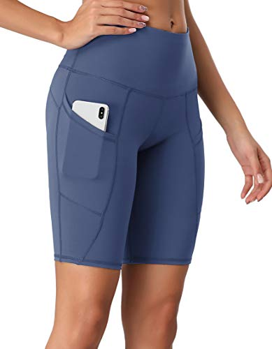 Oalka Women's Short Yoga Side Pockets High Waist Workout Running Shorts Ink Blue Large