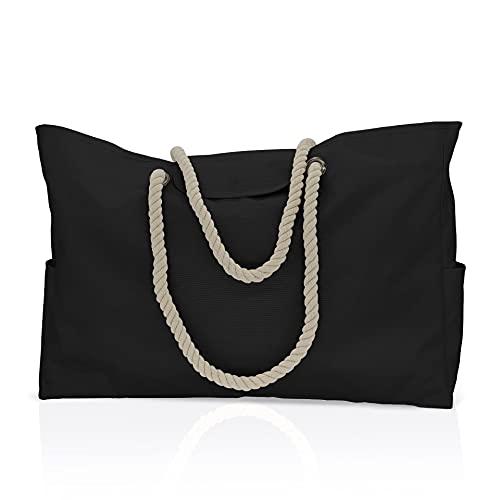 DOPN Bolso de playa para mujer, grande con cremallera, bolso de hombro, bolso de transporte, bolso de mujer, bolso de playa, bolso de mano para viajes, playa o piscina