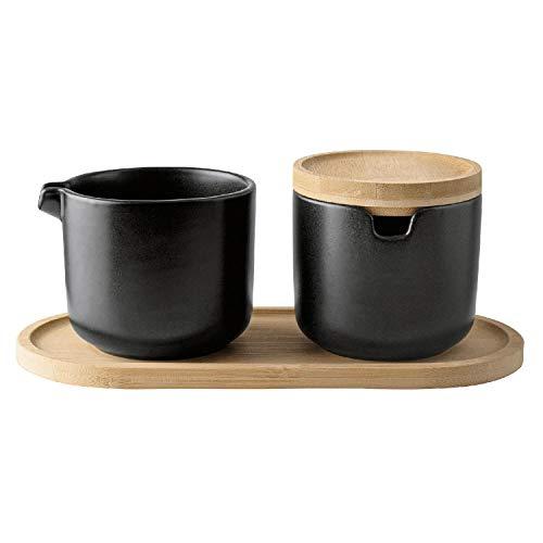 GUSTA Zucker und Milch Set, Porzellan/Holz inkl. 1 x Deckel + 1 x Tablett, schwarz/Natur, 4-teilig (1 Set)