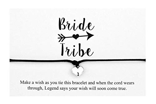 Bride Tribe handmade Heart Charm wish bracelet,Hen Party Favours,Team Bride Bridesmaid (Black)