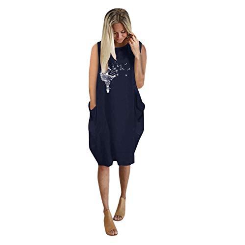 Floweworld🍒 Ärmelloses Pulloverkleid für Damen, übergroßes, lose bedrucktes Taschenpullover-Sommer-Minikleid für ZuhauseFlowy Shirt-Kleid