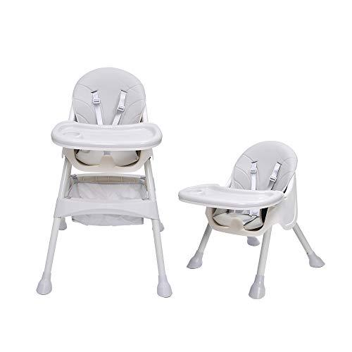 Bellanny 2 in 1Hochstuhl Baby, Kinderhochstuhl, Kombihochstuhl, mit 5-Punkt-Sicherheitsgurte, höhenverstellbar, Abnehmbares Tablett, ab 6 Monate bis 3 Jahre alt Babystuhl -Grau