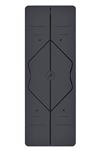 Liforme Yogamatte - umweltfreundlicher Gummi - Grau - Yoga Fitness Matte - mit Yogatasche