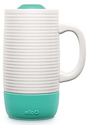 White Ceramic Travel Mug With Green Silicone Lid And Base