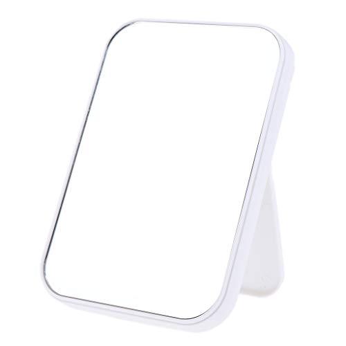 FLAMEER Kosmetikspiegel Makeup Spiegel Standspiegel Schminkspiegel Tischspiegel Schlafzimmer Spiegel mit Faltbar Griff - Weiß