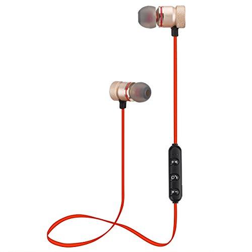 Auriculares Bluetooth, Auricular In-Ear Deportivos con Magnética y Micrófono para iPhone X / 8/7 / Samsung Note 8 / S9 / S8 / A5 2017 / Huawei P20 Lite / P10 Lite (Oro Rosa)