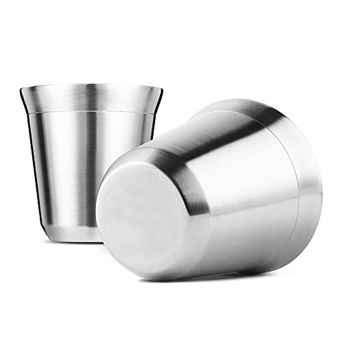 SUMSEA Edelstahl Espressotassen 2 Pack, Doppelwandige isolierte Kaffeetassen Teetassen, leicht zu reinigen und spülmaschinenfest (80ML)