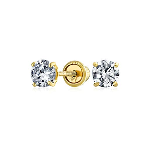 .25CT Solid 14K Yellow Gold Tiny Minimalist Round Cubic Zirconia Brilliant Cut Solitaire CZ Stud Earrings For Women 3MM