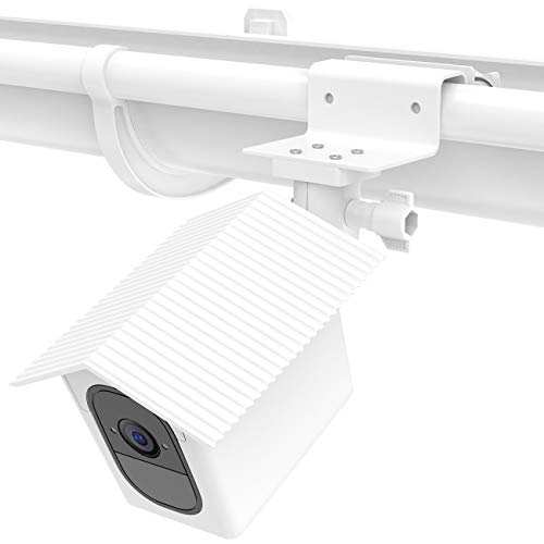 foreaya Weatherproof Gutter Mount Bracket Compatible with Camera with Weatherproof Protective Case Cover Greater Height Best Viewing Angle (White)