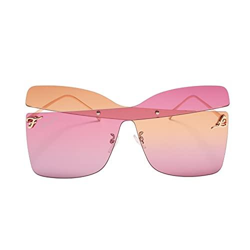 Lingaury colección moderna de gafas de sol de gran tamaño para mujer - estilo contemporáneo con protección UV400, gafas de sol de mariposa con almohadillas para la nariz - naranja / rojo