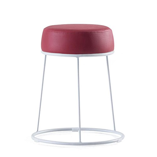 Rollsnownow PU Coussin Rouge Haute 46 cm Épaisseur de Surface Souple Tabouret de Ménage Tabouret Tabouret Tabouret de Fer Tabouret Rond (Color : White iron frame)