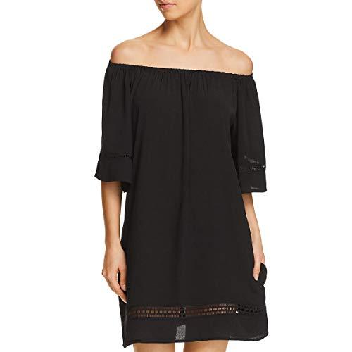 Muche & Muchette Womens Bell Sleeve Dress Swim Cover-Up Black O/S