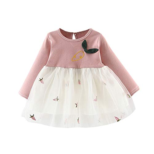 sunnymi - Vestido de Manga Larga para niña, Estampado de Zanahorias, Tul, Patchwork, Ropa A Rosa 12-18 Meses