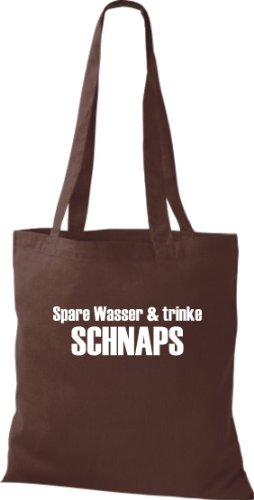 Stoffbeutel SPARE WASSER & TRINKE SCHNAPS Baumwolltasche, Beutel, Umhängetasche, Farbe braun