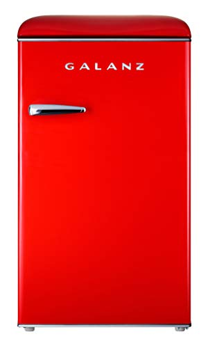 Galanz GLR35RDER Retro Refrigerator, 3.5 Cu Ft, Red